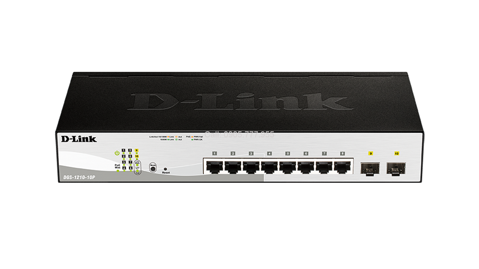 Switch D-Link 8 Port 10/100/1000Mbps + 2 Slot SFP (DGS-1210-10P)