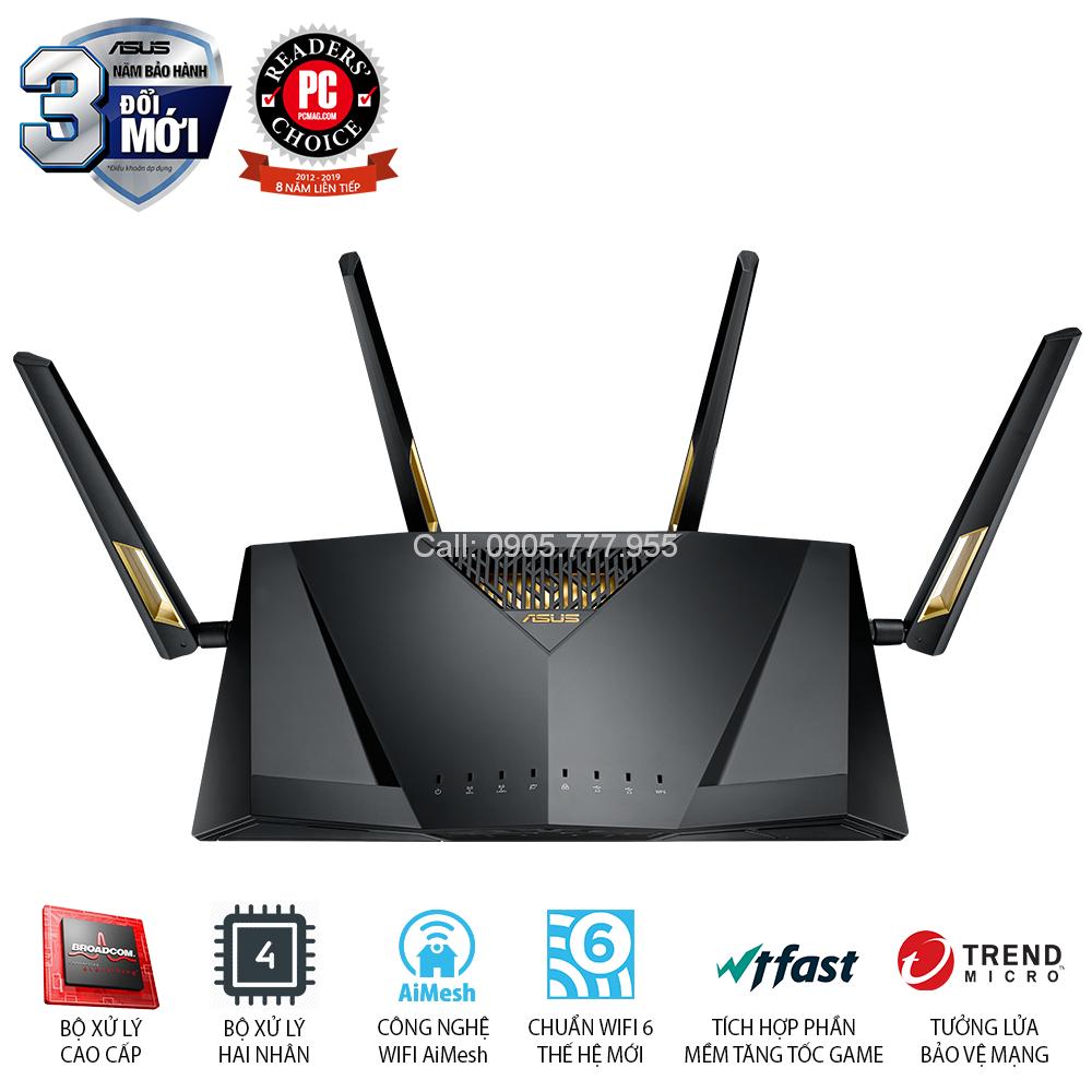 ASUS RT-AX88U (Gaming Router) AX6000 MU-MIMO WTFast AiMesh 360 WIFI, 2 băng tần, chipset Broadcom, AiProtection, USB 3.0 x 2