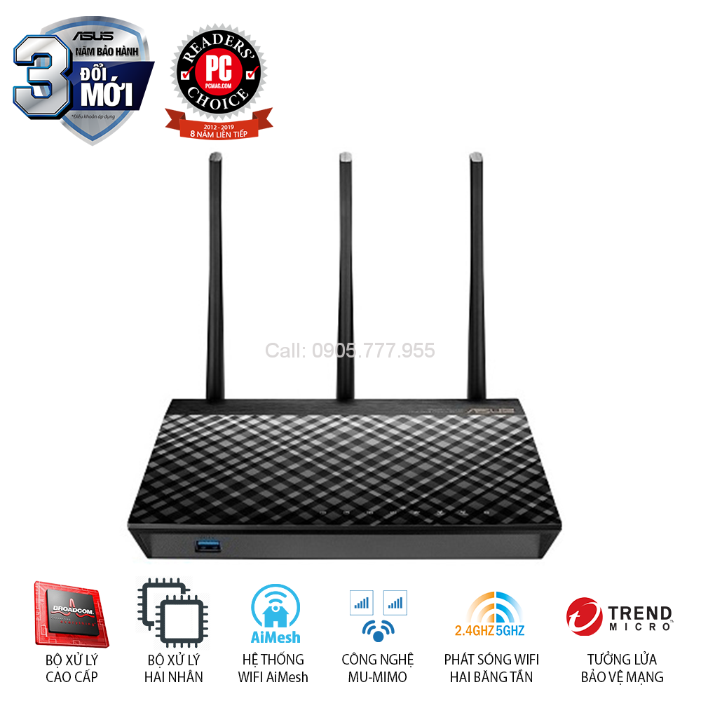 ASUS RT-AC66U (Mobile Gaming) Chuẩn AC1750 AiMesh 360 WIFI Mesh, 2 băng tần, chipset Broadcom, AiProtection, USB 3.0